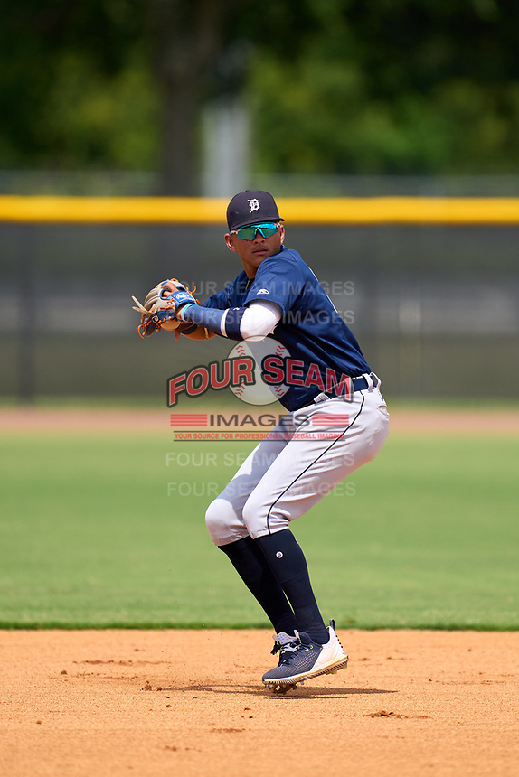 FCL Tigers East shortstop Manuel Sequera (15) during practice before a game against the FCL Yankees on July 27, 2021 at the Yankees Minor League Complex in Tampa, Florida. (Mike Janes/Four Seam Images)