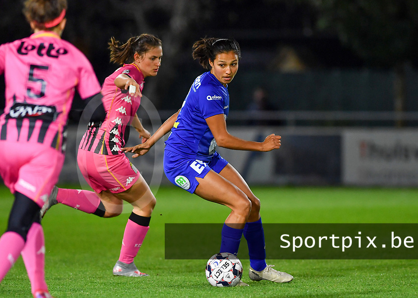 Jolet Lommen (9 Gent) pictured with Noemie Fourdin (11 Charleroi) during a female soccer game between  AA Gent Ladies and Sporting Charleroi Feminin on the fifth matchday of the 2020 - 2021 season of Belgian Scooore Womens Super League , friday 16 th of October 2020  in Oostakker , Belgium . PHOTO SPORTPIX.BE | SPP | DAVID CATRY