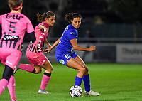 Jolet Lommen (9 Gent) pictured with Noemie Fourdin (11 Charleroi) during a female soccer game between  AA Gent Ladies and Sporting Charleroi Feminin on the fifth matchday of the 2020 - 2021 season of Belgian Scooore Womens Super League , friday 16 th of October 2020  in Oostakker , Belgium . PHOTO SPORTPIX.BE   SPP   DAVID CATRY
