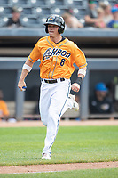 Akron RubberDucks outfielder Alex Call (8) scores a run on June 27, 2021 against the Erie SeaWolves at Canal Park in Akron, Ohio. (Andrew Woolley/Four Seam Images)