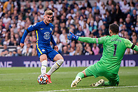 19th September 2021; Tottenham Hotspur Stadium, Tottenham, London;  Timo Werner sees his attempt saved by goalkeeper Hugo Lloris during the Premier League match between Tottenham Hotspur and Chelsea at Tottenham Hotspur Stadium