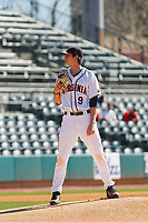 University of Virginia Cavaliers pitcher Daniel Lynch (9) on the mound during a game against the Liberty University Flames at Joseph P. Riley Ballpark on February 17, 2017 in Charleston, South Carolina. Virginia defeated Liberty 10-2. (Robert Gurganus/Four Seam Images)