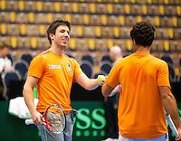 04-04-12, Netherlands, Amsterdam, Tennis, Daviscup, Netherlands-Rumania, training, Sijsling en Rojer(R)