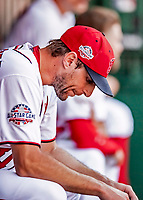 23 August 2018: Washington Nationals pitcher Max Scherzer sits in the dugout during a game against the Philadelphia Phillies at Nationals Park in Washington, DC. The Phillies shut out the Nationals 2-0 to take the 3rd game of their 3-game mid-week divisional series. Mandatory Credit: Ed Wolfstein Photo *** RAW (NEF) Image File Available ***