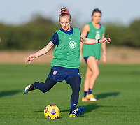 ORLANDO, FL - JANUARY 21: Becky Sauerbrunn #4 of the USWNT takes a shot during a training session at the practice fields on January 21, 2021 in Orlando, Florida.