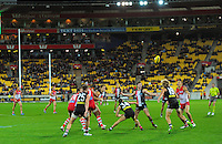 Action from the Australian Rules Football ANZAC Day match between St Kilda Saints and Sydney Swans at Westpac Stadium, Wellington, New Zealand on Thursday, 24 May 2013. Photo: Dave Lintott / lintottphoto.co.nz