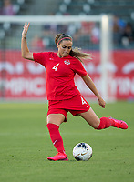 CARSON, CA - FEBRUARY 07: Shelina Zadorsky #4 of Canada passes off a ball during a game between Canada and Costa Rica at Dignity Health Sports Park on February 07, 2020 in Carson, California.