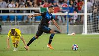 San Jose, CA - Saturday August 03, 2019: Pedro Santos #7, Danny Hoesen #9 in a Major League Soccer (MLS) match between the San Jose Earthquakes and the Columbus Crew at Avaya Stadium.