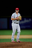Vancouver Canadians relief pitcher Luke Gillingham (17) prepares to deliver a pitch during a Northwest League game against the Tri-City Dust Devils at Gesa Stadium on August 21, 2019 in Pasco, Washington. Vancouver defeated Tri-City 1-0. (Zachary Lucy/Four Seam Images)
