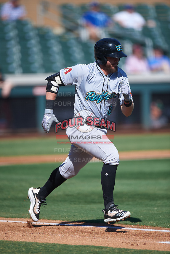 Salt River Rafters Seth Beer (8), of the Arizona Diamondbacks organization, runs to first base during the Arizona Fall League Championship Game against the Surprise Saguaros on October 26, 2019 at Salt River Fields at Talking Stick in Scottsdale, Arizona. The Rafters defeated the Saguaros 5-1. (Zachary Lucy/Four Seam Images)