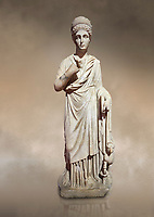 Roman statue of Nemesisgoddess of  retribution. Marble. Perge. 2nd century AD. Inv no 28.23.79. Antalya Archaeology Museum; Turkey. Against a warm art background.
