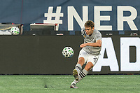FOXBOROUGH, MA - SEPTEMBER 23: Lassi Lappalainen #21 of Montreal Impact passes the ball during a game between Montreal Impact and New England Revolution at Gillette Stadium on September 23, 2020 in Foxborough, Massachusetts.