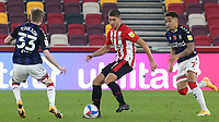 Vitaly Janelt of Brentford in action as Middlesbrough's Hayden Coulson and Marcus Tavernier look on during Brentford vs Middlesbrough, Sky Bet EFL Championship Football at the Brentford Community Stadium on 7th November 2020
