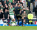 :: REFEREE CRAIG THOMSON SEEMS TO POINT TO THE SPOT TO AWARD RANGERS A PENALTY BEFORE CHANGING HIS MIND AND BOOKING RANGERS' STEVEN DAVIS ::