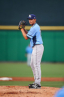 Charlotte Stone Crabs starting pitcher Brent Honeywell (32) gets ready to deliver a pitch during a game against the Clearwater Threshers on April 12, 2016 at Bright House Field in Clearwater, Florida.  Charlotte defeated Clearwater 2-1.  (Mike Janes/Four Seam Images)
