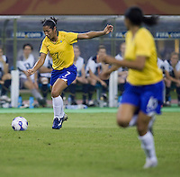 Brazil midfielder (7) Daniela. Brazil defeated Australia, 3-2 during the quarterfinals of the FIFA Women's World Cup at Tianjin Olympic Center Stadium in Tianjin, China on September 23, 2007.