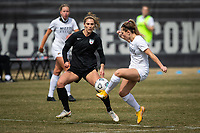 PEORIA, IL - MARCH 13: Kayla Sharples #28 of the Chicago Red Stars defends during a game between Missouri Tigers and Chicago Red Stars at Shea Stadium on March 13, 2021 in Peoria, Illinois.