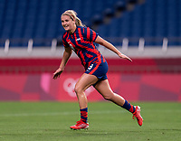 SAITAMA, JAPAN - JULY 24: Lindsey Horan #9 of the USWNT celebrates during a game between New Zealand and USWNT at Saitama Stadium on July 24, 2021 in Saitama, Japan.