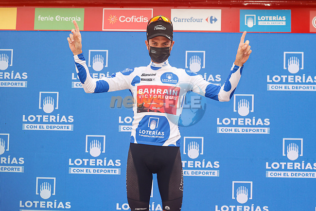 Damiano Caruso (ITA) Bahrain Victorious retains the mountains Polka Dot Jersey at the end of Stage 10 of La Vuelta d'Espana 2021, running 189km from Roquetas de Mar to Rincón de la Victoria, Spain. 24th August 2021.     <br /> Picture: Luis Angel Gomez/Photogomezsport | Cyclefile<br /> <br /> All photos usage must carry mandatory copyright credit (© Cyclefile | Luis Angel Gomez/Photogomezsport)