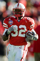 01 January 2007: Nebraska back Brandon Jackson warms up before the 2007 AT&T Cotton Bowl Classic between The University of Auburn and The University of Nebraska at The Cotton Bowl in Dallas, TX.
