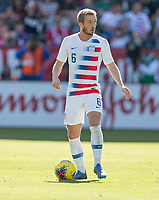 CARSON, CA - FEBRUARY 1: Jackson Yueill #6 of the United States looking for an open teammate during a game between Costa Rica and USMNT at Dignity Health Sports Park on February 1, 2020 in Carson, California.