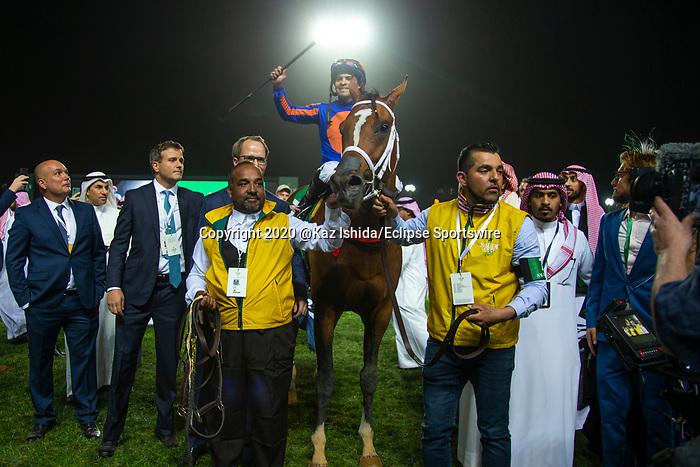 RIYADH,SAUDI ARABIA-FEB 29: Maximum Security,ridden by Luis Saez, after winning the Saudi Cup at King Abdulaziz Racetrack on February 29,2020 in Riyadh,Saudi Arabia. Kaz Ishida/Eclipse Sportswire/CSM