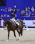 OMAHA, NEBRASKA - APR 1: Laura Graves celebrates her ride aboard Verdades during the FEI World Cup Dressage Final II at the CenturyLink Center on April 1, 2017 in Omaha, Nebraska. (Photo by Taylor Pence/Eclipse Sportswire/Getty Images)