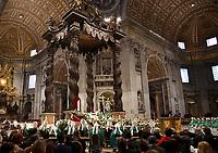 Papa Francesco celebra una Messa in occasione della Giornata Mondiale dei Poveri nella Basilica di San Pietro in Vaticano. 17 novembre 2019.<br /> Pope Francis celebrates a Mass marking the World Day of the Poor in Saint Peter's Basilica at the Vatican, on 17 November, 2019.<br /> UPDATE IMAGES PRESS/Isabella Bonotto<br /> <br /> STRICTLY ONLY FOR EDITORIAL USE