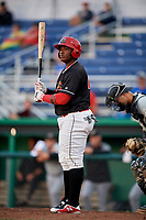 Batavia Muckdogs designated hitter Albert Guaimaro (13) at bat during a game against the West Virginia Black Bears on June 18, 2018 at Dwyer Stadium in Batavia, New York.  Batavia defeated West Virginia 9-6.  (Mike Janes/Four Seam Images)