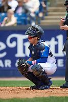 Wilmington Blue Rocks catcher Chase Vallot (13) during the first game of a doubleheader against the Frederick Keys on May 14, 2017 at Daniel S. Frawley Stadium in Wilmington, Delaware.  Wilmington defeated Frederick 10-2.  (Mike Janes/Four Seam Images)