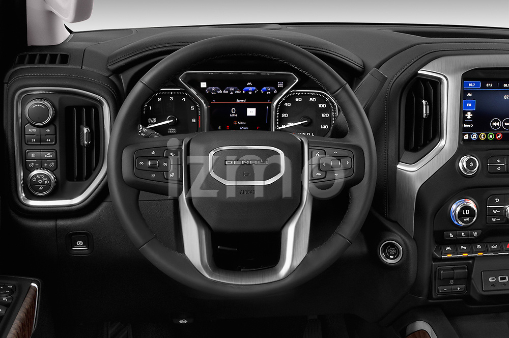 Car pictures of steering wheel view of a 2019 GMC Sierra 1500 Denali Base 4 Door Pick Up