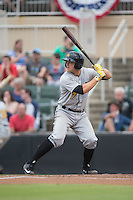 Taylor Gushue (17) of the West Virginia Power at bat against the Kannapolis Intimidators at Intimidators Stadium on July 3, 2015 in Kannapolis, North Carolina.  The Intimidators defeated the Power 3-0 in a game called in the bottom of the 7th inning due to rain.  (Brian Westerholt/Four Seam Images)