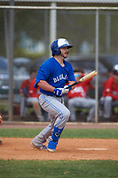 Toronto Blue Jays Ryan Gold (20) bats during an exhibition game against the Canada Junior National Team on March 8, 2020 at Baseball City in St. Petersburg, Florida.  (Mike Janes/Four Seam Images)