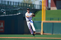 Mesa Solar Sox shortstop AJ Simcox (17), of the Detroit Tigers organization, makes a throw to first base during a game against the Surprise Saguaros on October 20, 2017 at Sloan Park in Mesa, Arizona. The Solar Sox walked-off the Saguaros 7-6.  (Zachary Lucy/Four Seam Images)