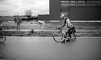 Marco Haller (AUT/Katusha) crashed heavily and had to abandon the race, while Yves Lampaert (BEL/Etixx/QuickStep) was able to continue<br /> <br /> 70th Dwars Door Vlaanderen 2015