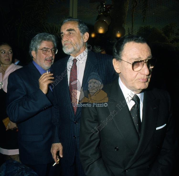 ETTORE SCOLA CON VITTORIO GASSMAN ED ALBERTO SORDI<br /> FESTA PER L'OSCAR A GABRIELLA PESCUCCI - GILDA CLUB ROMA 1994