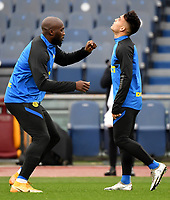 Romelu Lukaku and Lautaro Martinez of FC Internazionale warm up during the Serie A football match between AS Roma and FC Internazionale at Olimpico stadium in Roma (Italy), January 10th, 2021. Photo Andrea Staccioli / Insidefoto