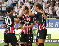 celebrate the goal, Torjubel zum 2:1 von Goncalo Paciencia (Eintracht Frankfurt) mit Dejan Joveljic (Eintracht Frankfurt), Lucas Torro (Eintracht Frankfurt),  Dominik Kohr (Eintracht Frankfurt), Daichi Kamada (Eintracht Frankfurt) - 01.08.2019: Eintracht Frankfurt vs. FC Flora Tallinn, UEFA Europa League, Qualifikation 2. Runde, Commerzbank Arena<br /> DISCLAIMER: DFL regulations prohibit any use of photographs as image sequences and/or quasi-video.