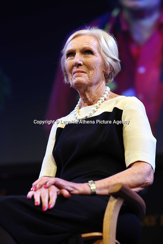 Friday 23 May 2014, Hay on Wye UK<br /> Pictured: The Great British Bake Off star Mary Berry<br /> Re: The Telegraph Hay Festival, Hay on Wye, Powys, Wales UK.