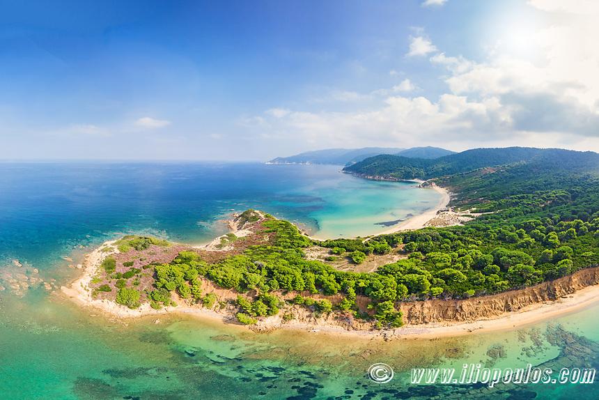 The beaches Mandraki, Elias and Agistros of Skiathos island from drone view, Greece