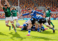 27th March 2021; Brentford Community Stadium, London, England; Gallagher Premiership Rugby, London Irish versus Bath; Ben Spencer of Bath kicks the ball for field position