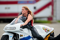Aug 31, 2019; Clermont, IN, USA; NHRA pro stock motorcycle rider Kelly Clontz during qualifying for the US Nationals at Lucas Oil Raceway. Mandatory Credit: Mark J. Rebilas-USA TODAY Sports