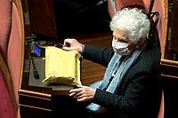 The senator Liliana Segre during the Italian Premier's  information at the Senate about the government crisis..<br /> Rome(Italy), January 19th 2021<br /> Photo Pool Alessandra Benedetti/Insidefoto