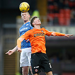 Dundee United v St Johnstone....21.11.15  SPFL,  Tannadice, Dundee<br /> Brian Easton gets above Blair Spittal<br /> Picture by Graeme Hart.<br /> Copyright Perthshire Picture Agency<br /> Tel: 01738 623350  Mobile: 07990 594431