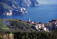 - panorama of the coast with Corniglia and Manarola villages (Cinque Terre)....- panorama della costa coi paesi di Corniglia e  Manarola (Cinque Terre)