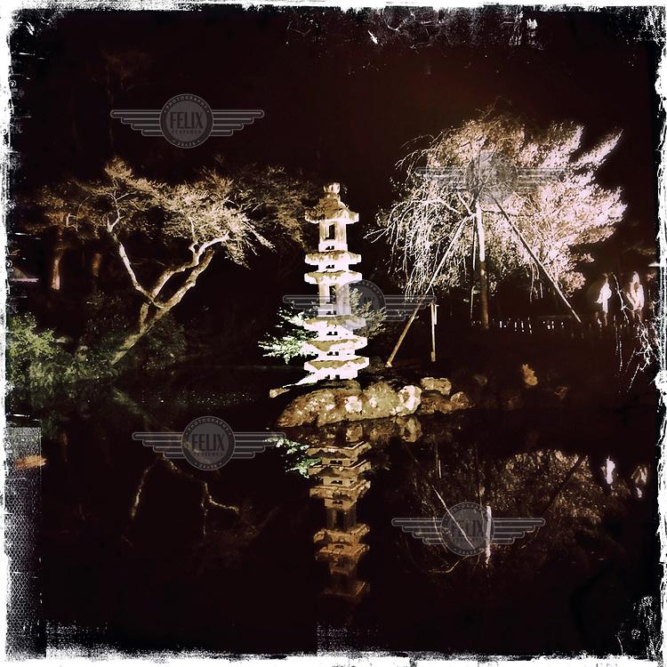 The Kaiseki-to stone lantern in the Kenroku-en Garden at Kanazawa Castle Park.