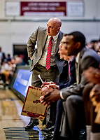 8 January 2020: Stony Brook University Seawolf Head Coach Geno Ford, watches play in the first half against the University of Vermont Catamounts at Patrick Gymnasium in Burlington, Vermont. The Seawolves defeated the Catamounts 81-77 in a closely fought game. Mandatory Credit: Ed Wolfstein Photo *** RAW (NEF) Image File Available ***