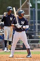 FCL Yankees Jasson Dominguez (25) bats during a game against the FCL Blue Jays on June 29, 2021 at the Yankees Minor League Complex in Tampa, Florida.  (Mike Janes/Four Seam Images)
