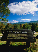 Scenic view of the Presidential Range from Eisenhower Wayside Park along Route 302 in the White Mountains, New Hampshire USA. Mount Washington is off in the distance snow-capped.