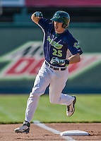 29 June 2014:  Vermont Lake Monsters outfielder Justin Higley rounds the bases after hitting a home run against the Lowell Spinners at Centennial Field in Burlington, Vermont. The Lake Monsters fell to the Spinners 7-5 in NY Penn League action. Mandatory Credit: Ed Wolfstein Photo *** RAW Image File Available ****